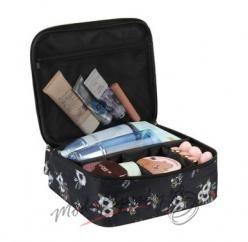 Kosmetická taška černá s kvítky