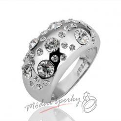 Prsten lesklý s  velkými krystaly