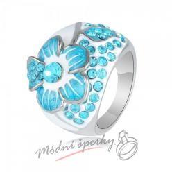 Prsten s modrou květinou