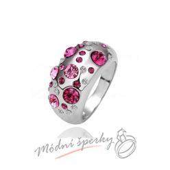 Prsten s růžovými krystaly