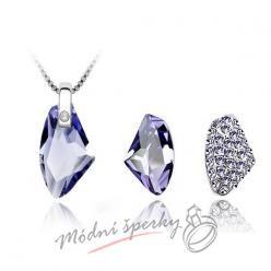 Set purple stones s krystaly SWAROVSKI ELEMENTS