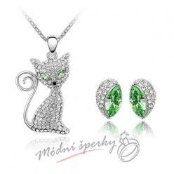 Set cat with green eyes s krystaly SWAROVSKI ELEMENTS