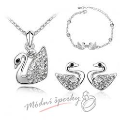 Set small swan s krystaly SWAROVSKI ELEMENTS