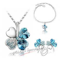 Set čtyřlístek modrý s krystaly SWAROVSKI ELEMENTS