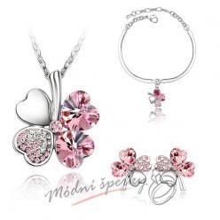 Set čtyřlítek růžový s krystaly SWAROVSKI ELEMENTS