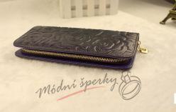 Kožená peněženka s růžemi - tmavě modrá
