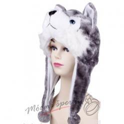 Hřejivá čepice vlk
