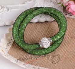 Třpytivý náramek zelený